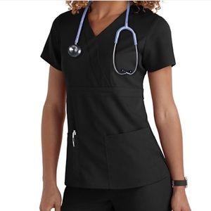 Greys anatomy scrubs med top small bottom black
